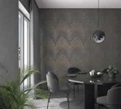 tapete anthrazit kupfer grafisch für schlafzimmer oder wohnzimmer made in germany 10 05m x 0 53m