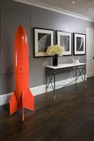 gray hallway modern with white baseboard engineered wood