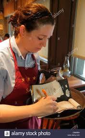 Fort Lauderdale Ft Florida Cracker Barrel restaurant woman waitress employee uniform job taking order writing