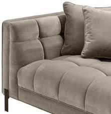 casa padrino luxus samt sofa mit 4 kissen greige schwarz 231 x 95 x h 68 cm wohnzimmer sofa luxus qualität