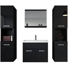 badezimmer badmöbel set montreal xl 60cm waschbecken schwarz hochglanz fronten unterschrank hochschrank waschtisch möbel
