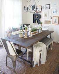 Rustic Dining Room Ideas Pinterest by Best 25 Farmhouse Table With Bench Ideas On Pinterest Table