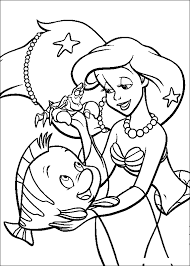 Ariel And Fish Coloring Pages For Kids Printable Little Mermaid