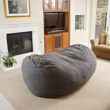 The Furniture Long Grey Upholstered Bean Bag Combined Fireplace And Concerning Living Room Bags Designs