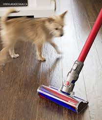 vacuuming wood floors and tile with dyson