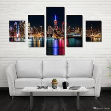 2019 Fashionable Environmental Protection Five City Night Decoration Room Living Room Sofa Wall Art Micro Spray Decoration Oil Painting From Liuxu1