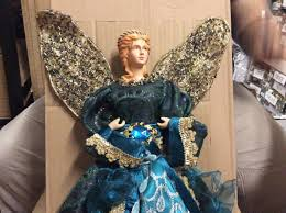 Katherines Collection Halloween Sale by Regency Christmas Angel Tree Topper Peacock Table Top Turquoise 18