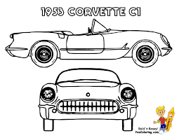 1953 Corvette C1 Sports Car Coloring Page At YesColoring