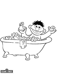 Ernie In The Bath Tub Sesame Street Coloring Page
