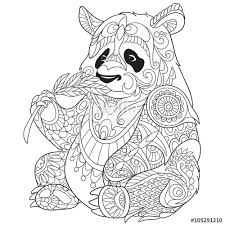 Zentangle Stylized Cartoon Panda Isolated On White Background Sketch For Adult Antistress Coloring Page