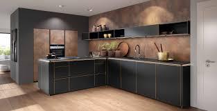 l küche schwarzer front in softmatt und granit arbeitsplatte