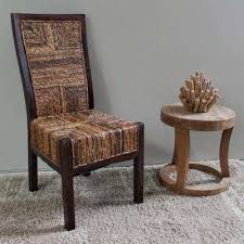 Dallas Salak Brown Abaca Weave Dining Chair With Mahogany Hardwood Trim And Frame