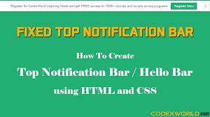 Create Top Notification Bar With HTML And CSS - CodexWorld Responsive Navigation Menu Bar Html Css Jquery Youtube Drmweaver Horizontal Spry Explained In Depth Drop Top Bar Html Wikiwebdircom Css Form Tag Breaks Navigation On Google Chrome Only Down 1 Of 2 With And Move Ajax Search From Top To Main Header 10 Selling Soaps Tag Rated Soap Soaps How Unlock Blogger Widgets Georgia Lou Studios Manage Rambo Theme Webriti Help Centre