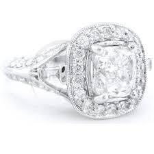 200ctw Cushion Cut Antique Style Diamond Engagement Ring C3 Flat View