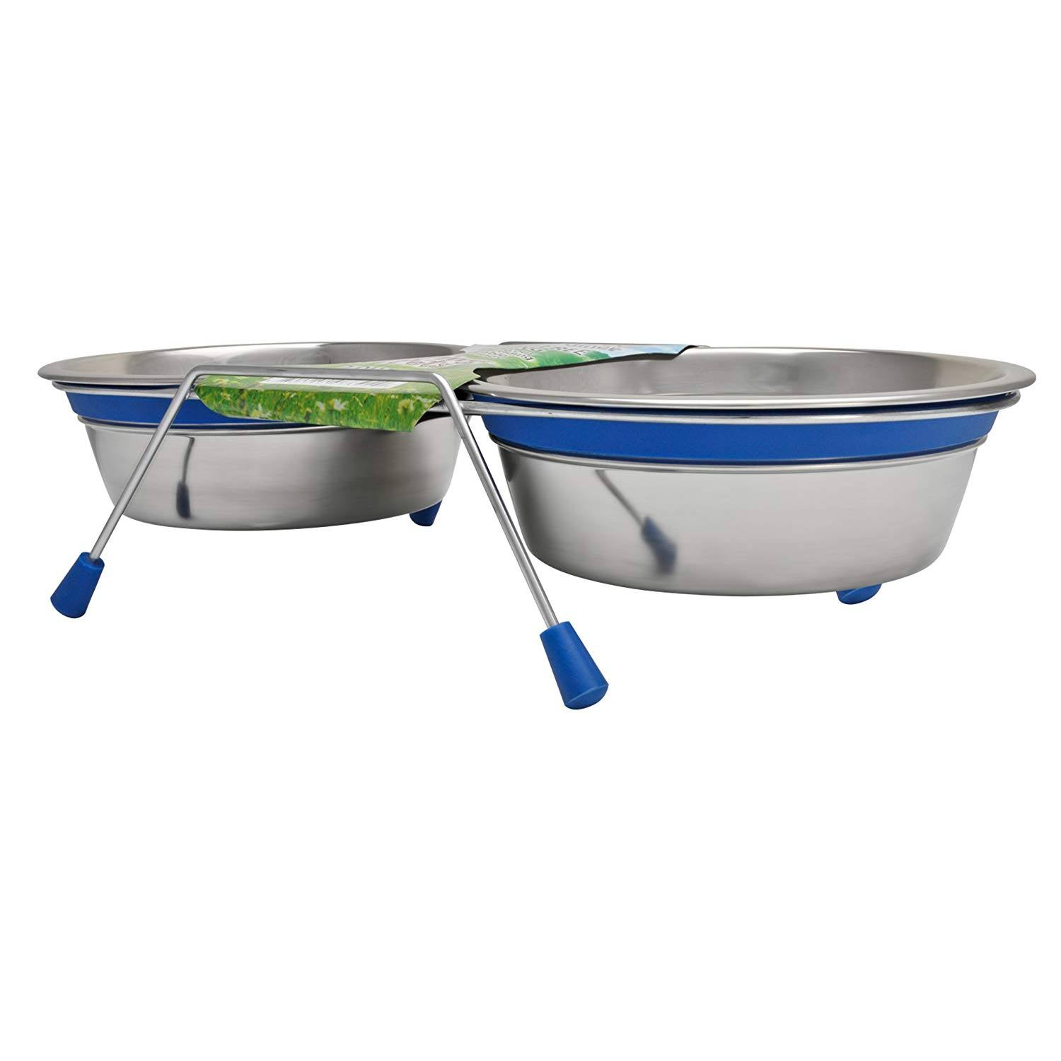 Loving Pets Silent Double Dinner Pet Bowl - Blue, 2qt