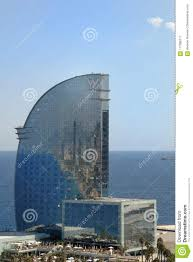 100 Barcelona W Hotel Ith Sea And Beach Barceloneta Spain Editorial