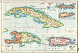 WEST INDIESCuba Puerto Rico Hispaniola Virgin Islands St Croix Haiti 1920 Map