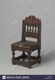 Chair (high Chair) In Oak With Baluster Legs And Wooden Seat ...