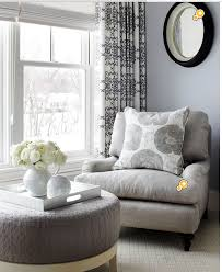 COMFY GRAY CHAIRS SEATING AREA W/ROUND OTTOMAN FOR BEDROOM | GRAY ...