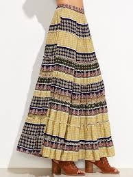tribal print floral boho maxi swing skirt shein sheinside