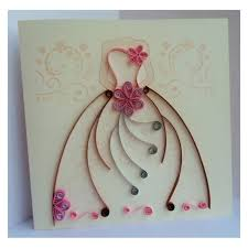 10 Pcs Wedding card with quilling dress pattern Custom order Free shipping