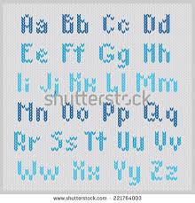 Blue Knitting Alphabet Gray Background Stock Vector