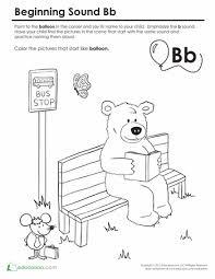Beginning Sounds Coloring Sounds Like Bear