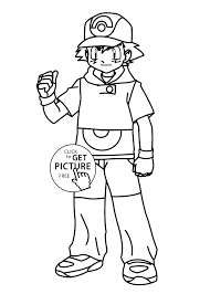 Boy From Pokemon Anime Coloring Pages For Kids Printable Free