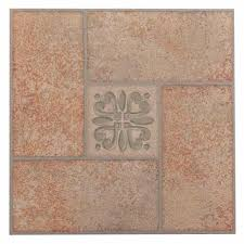 achim tivoli beige 12 in x 12 in peel and stick terracotta motif