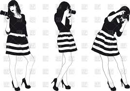 Silhouette of girl photographer in a striped dress Royalty Free Vector Clip Art
