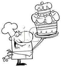 A Black and White Silhouette of a Baker Holding a Tiered Cake Royalty Free Clipart Picture