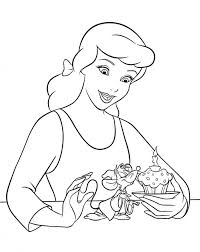 Cinderella Makes Cupcake Coloring Page