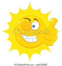 Smiling Yellow Sun Cartoon Emoji Face Character With Wink Expression Giving A Thumb Up
