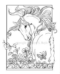 ADULT COLORING PAGE Digital Download Unicorn Flowers Butterfly Garden Fantasy Adult Coloring
