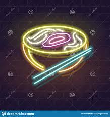 neon pho bowl icon auf backsteinwand vietnamesische küche