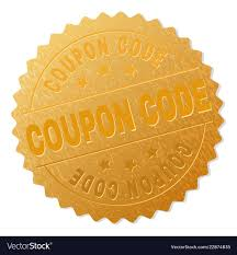 Gold Coupon Code Badge Stamp Vector Image