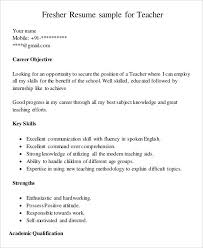 Fresher Teacher Resume Sample