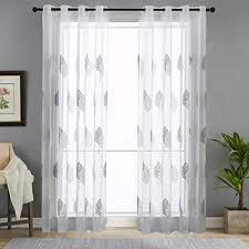 souarts vorhänge gardine gardinen 2er set mit ösen für schlafzimmer wohnzimmer stickerei transparent blumen dekoschal fensterschal voile 140cmx175cm