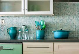 cheap picture of light blue and turquoise mosaic tile kitchen