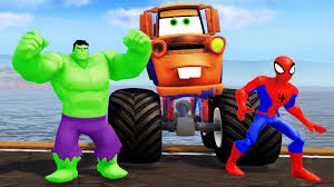 TOW MATER MONSTER TRUCK ! HULK & Spiderman + Nursery Rhymes (Songs ... Car Carrier Truck With Spiderman Cartoon For Kids And Nursery Lightning Mcqueen Cars Truck In Monster Shapes Songs Children The Song Ambulance Music Video Youtube Garbage By Blippi Fire Engine For Videos Wheels On Original Rhymes Baby Finger Family Trucks Surprise Eggs Titu Recycling Twenty Numbers