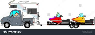 Illustration Man Driving Truck Camper Pulling Stock Illustration ...