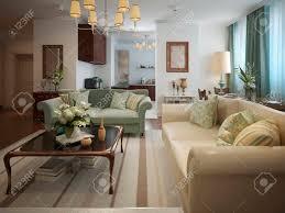 wohnzimmer im neoklassizistischen stil mit warmen farben in beige oliven und türkis 3d render