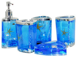 Teal Color Bathroom Decor by Amazon Com Beach Seashell Starfish Bathroom Accessories Set