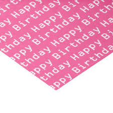 Happy Birthday Text Pink And White Tissue Paper