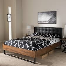 King Platform Bed With Leather Headboard by Zinus Modern Studio Black King Platform Bed Hd Asmph 15k The