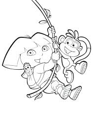 Dora And Boots Coloring Pages To Print Swinging Colouring Online Sheets Printable Free