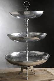 Tiered Dessert Tray Hammered Silver