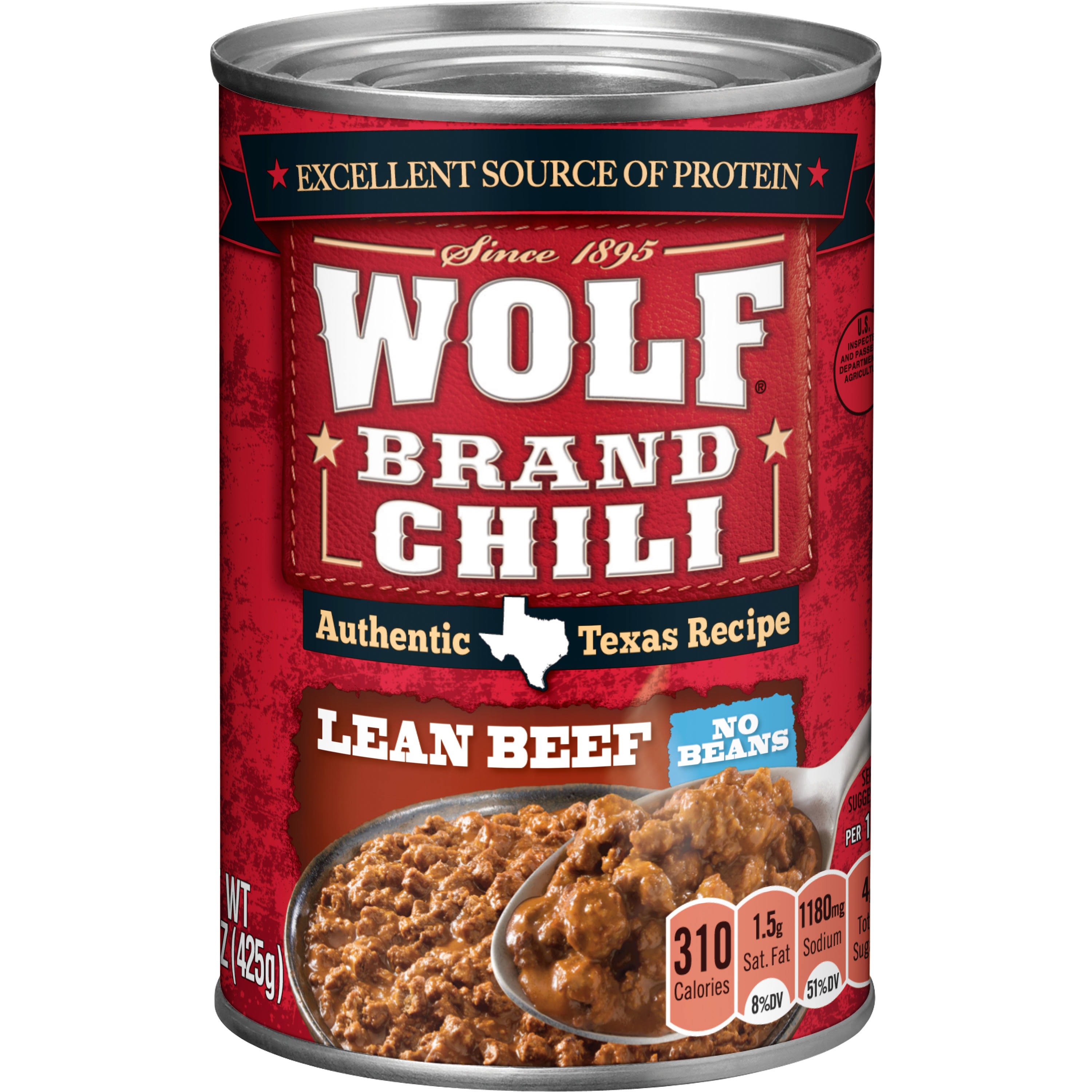 Wolf Brand Chili No Beans Lean Beef - 15oz