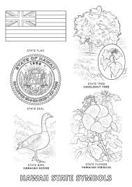 Hawaii State Symbols Usa Coloring Page