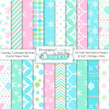 Candy Colored Winter Patterns Digital Paper Pack